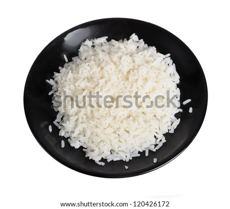 Plate of rice isolated on white background - stock photo
