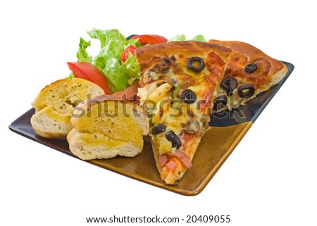 Plate of Supreme Pizza, Salad and Garlic Bread isolated over white background - stock photo
