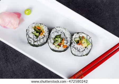plate of vegetable sushi