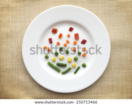 Plate of very few vegetables. Dieting concept. - stock photo