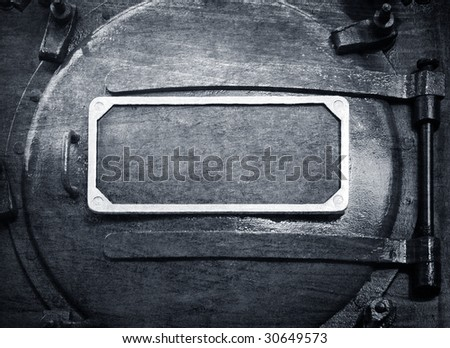plate on metal cover background