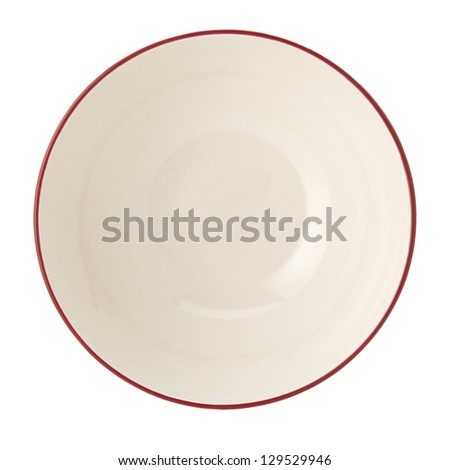 Plate on white background, beige, soup plate - stock photo