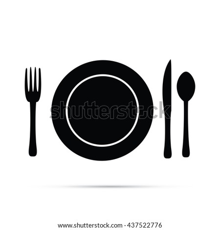 Plate Setting with Fork Knife & Spoon Icon.  Raster Version - stock photo