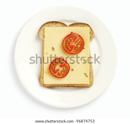 Plate with cheese sandwich - stock photo