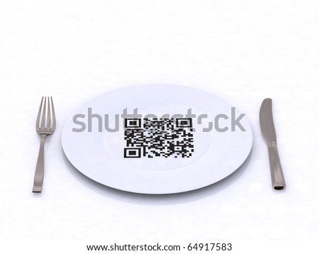 plate with fork, knife and QR code - stock photo