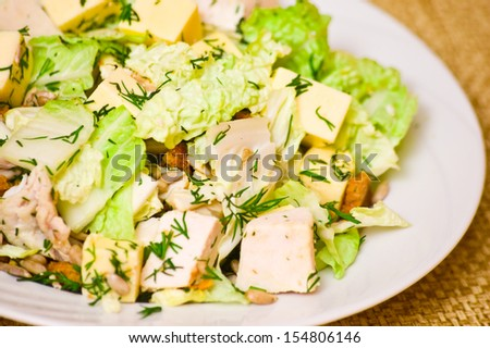 Plate with fresh caesar salad