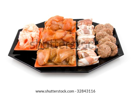 plate with fresh meat for Gourmet, isolated on white background