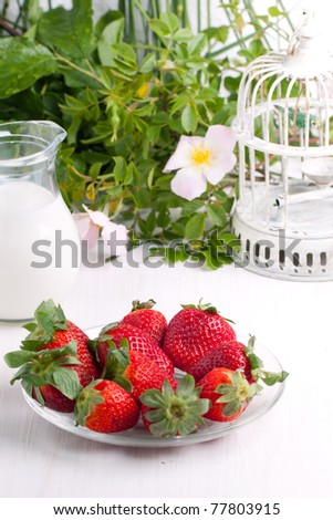Plate with fresh strawberries and jug of milk on white table with old vintage cage and wild flowers