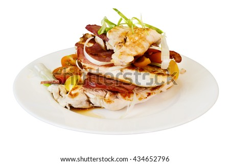 Plate with grilled chicken and smoked beef - stock photo