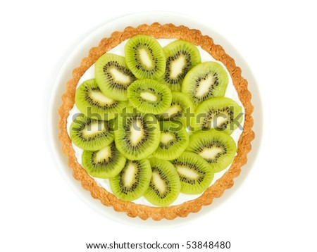 Plate With Homemade Kiwi Tart Viewed From Above