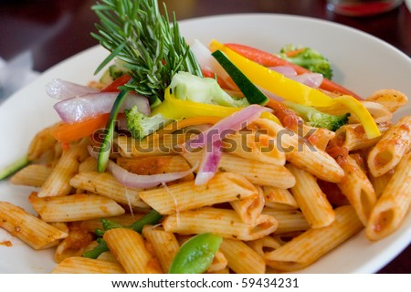 plate with italian penne pasta