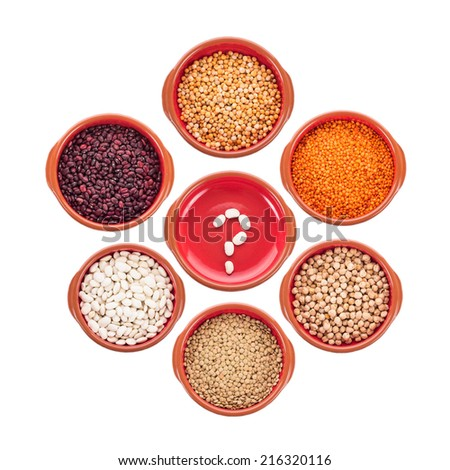 Plate with question mark and different types of beans isolated on white - stock photo