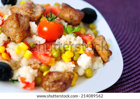 Plate with risotto and vegetable