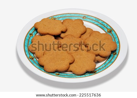 Plate with some Cookies. Homemade pastry. Sweet and tasty - stock photo