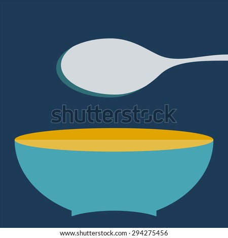 plate with spoon vector illustration. Set of kitchen items - stock photo