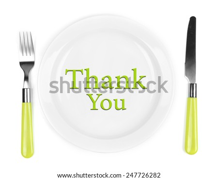 """Plate with text """"Thank You"""", fork and knife isolated on white - stock photo"""