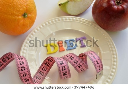 plate with the word diet and fruit and tailor tape - stock photo