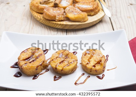 plate with torrijas, typical spanish