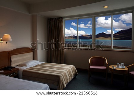 Plateau lake out of the window. - stock photo