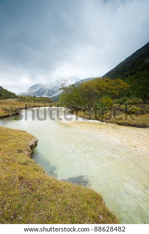 Plateau river landscape in autumn - stock photo
