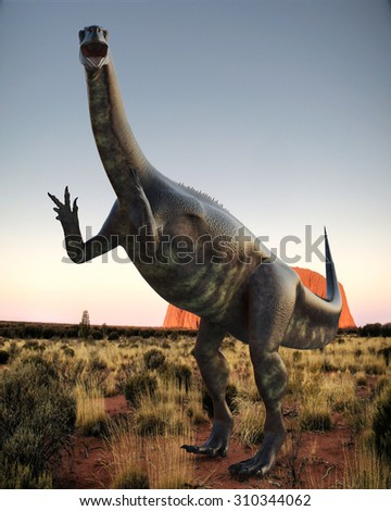 Plateosaurus on desert - stock photo
