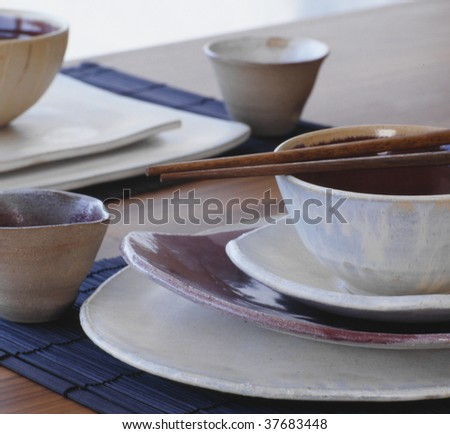 Plates of ceramics - stock photo