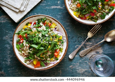 Plates of refreshing bulgur and vegetables salad