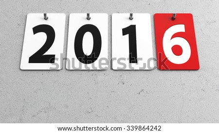 Plates 2016 on grey wall, represents the new year 2016, three-dimensional rendering - stock photo