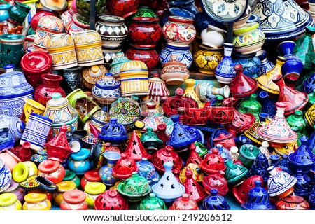 Plates, pots and tajines made of clay in the souk of Chefchaouen, Morocco - stock photo
