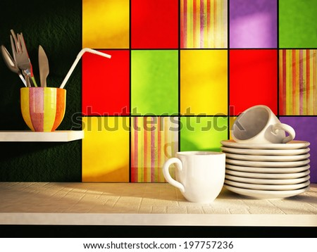 plates with cups on the kitchen table - stock photo