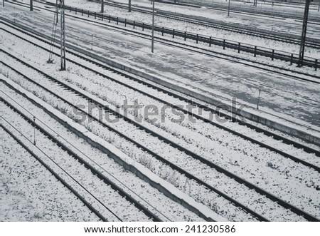 platform and railway tracks - stock photo