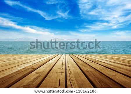 platform beside sea - stock photo