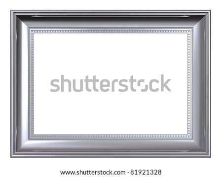 Platinum frame isolated on white background. Computer generated 3D photo rendering. - stock photo