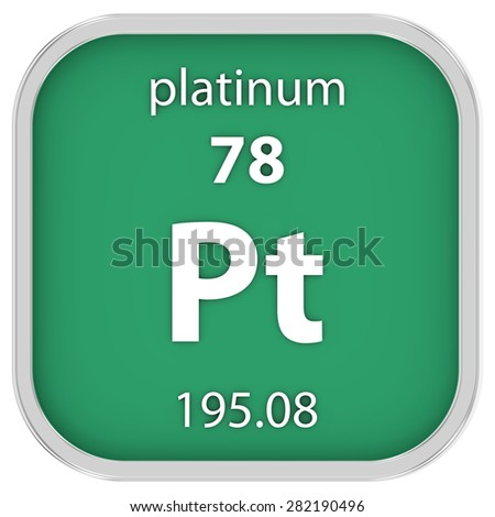 Platinum material on the periodic table. Part of a series. - stock photo