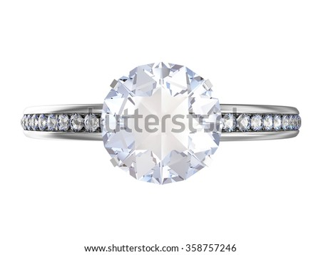 Platinum Wedding Ring with Blue Diamonds isolated on white background - stock photo