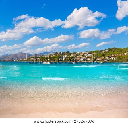 Platja de Alcudia Auanada beach in Mallorca Majorca Balearic islands - stock photo