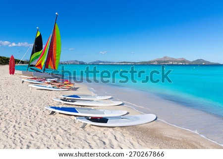 Platja de Muro Esperanza beach in Alcudia Bay Majorca Mallorca - stock photo