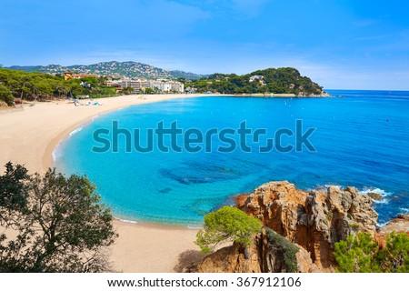 Platja Fenals Fanals Beach in Lloret de Mar at Costa Brava of Catalonia Girona Spain - stock photo