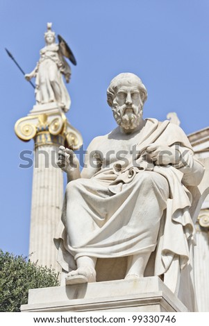 Platon in front of the National Academy of Athens, Greece - stock photo