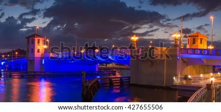 Platt Street Bridge, Tampa, Florida, nighttime panorama - stock photo