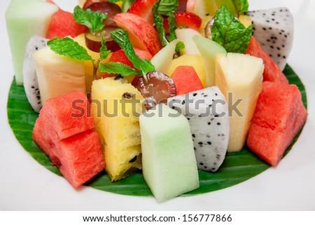 Platter of a assorted fresh fruit - stock photo