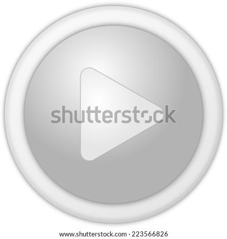 Play button silver circle - stock photo