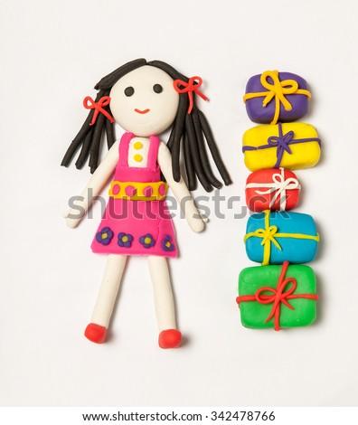 play dough gift box female figure - stock photo