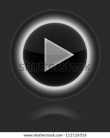 Play gray glossy round web vector button. Shape icon on gray background. (Raster version) - stock photo