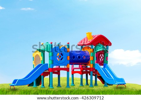 play ground colorful big plastic toy set for children school or garden park playground, playground on day noon light in city park. - stock photo