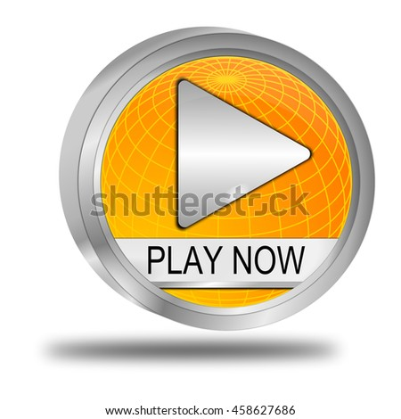 Play now Button - 3D illustration - stock photo