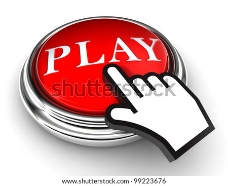 play red button and cursor hand on white background. clipping paths included - stock photo