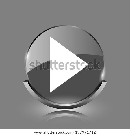 Play sign icon. Shiny glossy internet button on grey background.