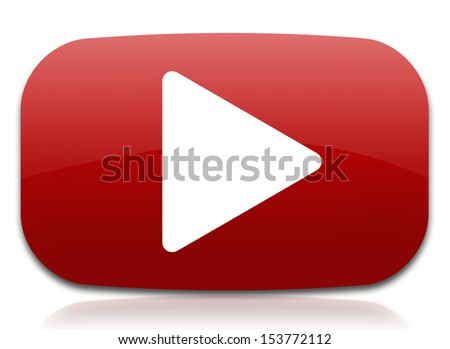 play sign in red shape - stock photo