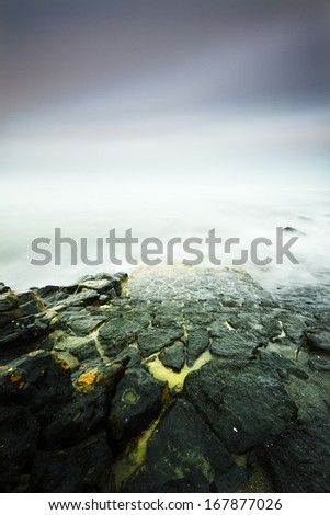 Playa Blanca beach in a cloudy day in Lanzarote, Canary Islands, - stock photo